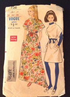 Vogue 7241 Dress Kimono 60s Sz14 Hippie complete end 24.95+0.95 nsld 2/1/17