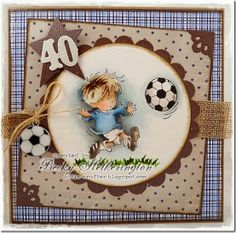 handmade bithday card ... Football Crazy by Becky ... 4oth b-day ... masculine browns and blues ... adorable little guy playing soccer ... beautiful coloring ... Lily of the Valley