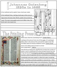 Johannes Gutenberg Notebooking Page. Mystery of History Volume 2, Lesson 84 #MOHII84