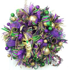 Deco Mesh Mardi Gras Wreath -Mardi Gras Decor -Mask Wreath - Purple Gold Green -Fat Tuesday Wreath by www. Mardi Gras Wreath, Mardi Gras Decorations, Farmhouse Side Table, Cute Dorm Rooms, Living Room Green, Mesh Wreaths, Baby Wreaths, Spring Wreaths, Easter Wreaths