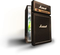 This is * SO ** cool!  Pun intended! Marshall Stack Refrigerator - about $400 in U.S. dollars. RESEARCH DdO:) - http://www.pinterest.com/DianaDeeOsborne/instruments-for-joy/ INSTRUMENTS FOR JOY - HUMOR PIC. Advertisement:  From the main stage to the man cave, the Marshall Fridge was BORN TO ROCK. Features authentic Marshall Guitar Amp stack parts incl Logos, Fret cloth, and brass finished faceplate - the ultimate combination of rock music and refrigerator. The Head is freezer compartment!