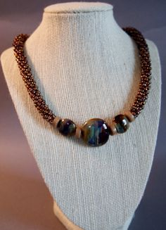 Luster Gold Amy Kumihimo Necklace, Boro Glass with Dichroic Color Kumihimo Necklace, Colors of Brazil Kumihimo Necklace Seed Bead Jewelry, Beaded Jewelry, Handmade Jewelry, Diy Necklace, Necklaces, Schmuck Design, Jewelry Patterns, Jewelry Crafts, Jewelery