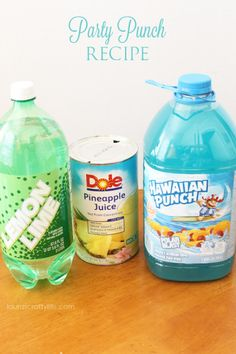 Party Punch Recipe - Laura's Crafty Life Shower Ideas, Punch, Cleaning Supplies, Water Bottle, Soap, Wedding Inspiration, Dishes, Recipe, Baby Shower Centerpieces