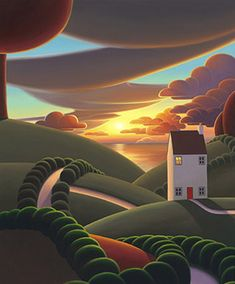 Summer Nights - a cheerful canvas on board by popular landscape artist Paul Corfield, as part of our Autumn 2017 collection. Contemporary Landscape, Abstract Landscape, Landscape Paintings, Landscapes, Naive Art, Whimsical Art, Beautiful Paintings, Oeuvre D'art, New Art