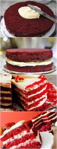 Bolo Red Velvet...LINDO E DELICIOSO!! VEJA AQUI>>>Peneire a farinha com o fermento e o sal. Reserve. Misture os corantes com o cacau em pó até formar uma pasta #receita#bolo#torta#doce#sobremesa#aniversario#pudim#mousse#pave#Cheesecake#chocolate#confeitaria
