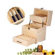 New Beautiful Three-layer Wooden Box Organizer Essential Oil Aromatherapy Container Case Large Essential Oil Storage Holder Box Case Container, Metal Type Wooden Storage Boxes, Decorative Storage, Wooden Boxes, Essential Oil Storage Box, Essential Oil Box, Aromatherapy Oils, Unfinished Wood, Box Design, Simple Style