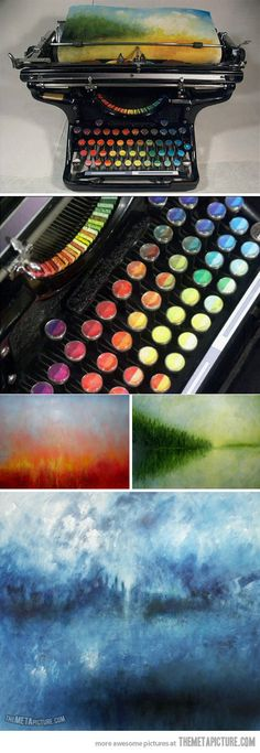 Type paintings with a chromatic typewriter. This is beautiful. I WANT ONE!!!!!!!
