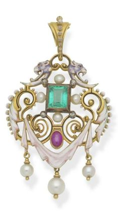 A Renaissance Revival gold and gem-set pendant, circa 1900. The scrolling cartouche set to the centre with a step-cut emerald, seed pearl and old brilliant-cut diamond cluster and a cabochon ruby, framed by opposing feline masks and swags of white, pink and blue enamel drapery, with further black enamel detail and terminating in three pearl drops, mounted in yellow gold.