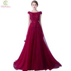 Robe De Soirée Vestido de Noite O Banquete Casado SSYFashion Vinho Elegante Flor Do Laço Vermelho Longo Partido Prom Vestidos Tamanho Personalizado