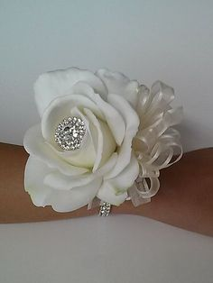 Real Touch Rose Wrist Corsage-White and by BecauseOfLoveFloral