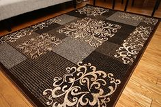 awesome New City Contemporary Brown Beige Modern Flowers Squares Wool Area Rug 4031