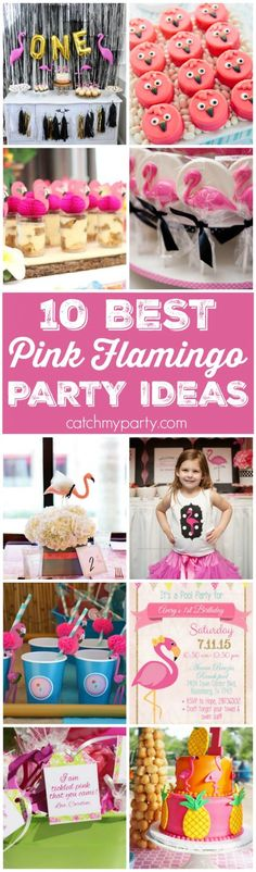 10 Best Pink Flamingo Party Ideas including cake, cupcakes, party favors, drinks, birthday invitations, and more! | Catchmyparty.com