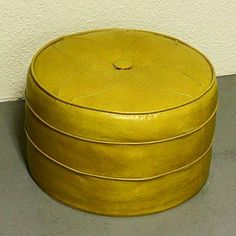 Vintage foot stool hassock ottoman footrest by moxiethrift My Childhood Memories, Sweet Memories, Yellow Cushions, Oldies But Goodies, Good Ole, My Memory, Mellow Yellow, The Good Old Days, Vintage Toys
