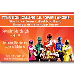 Power Rangers Invitations to Print | Power Rangers Samurai Birthday Party Invitation