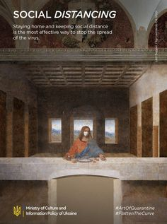 Our 9 Classical Art Posters Adjusted To Quarantine - Viral pictures of the day: Our 9 Classical Art Posters Adjusted To Quarantine Classical Art Memes, Social Campaign, Campaign Posters, Last Supper, Famous Art, Magritte, Funny Art, Print Ads, Oeuvre D'art