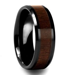 Mens Black & Wood Ring | $80 Backwoods- is High tech ceramic and scratch proof like tungsten. The band has a Mahogany Wood Inlay. For a wedding ring and for fashion, this ring has style. 8mm band width makes a perfect finger accessory.