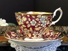 Royal Albert Brocade Chintz Tea Cup and Saucer, Heavily Decorated English Teacup -J