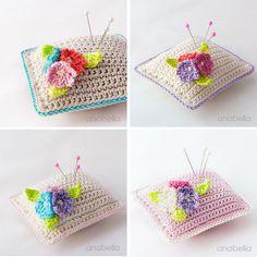 Small flowers crochet pincushions, Anabelia #crochet #pincushion