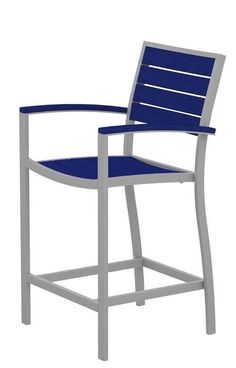 Polywood A201FASPB Euro Counter Arm Chair in Textured Silver Aluminum Frame / Pacific Blue