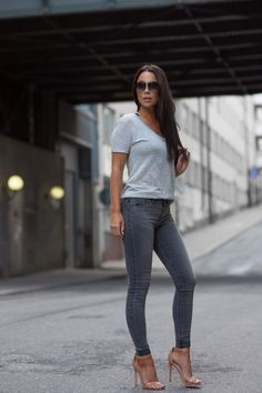 ecstasymodels:  A Grey Outfit I'm Wearing: Jeans: River Island Molly Jeans Top: River Island V-neck tee Shoes: La Strada Sunglasses: Dita Fashion By Johanna Olsson