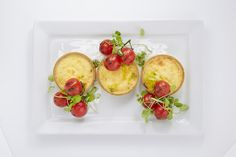 Fork buffet - Feta cheese & red onion chutney tartlet with a garnish of roast pesto vine tomatoes (v)