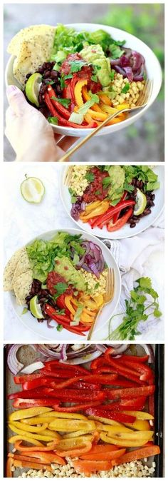 Vegan fajita bowls. Sheet pan roasted fajita peppers top a bed of quinoa along with lettuce, corn, black beans, salsa, and guacamole. We love this easy vegetarian, vegan, and gluten free dinner recipe! It's such a delicious Buddha bowl or burrito bowl var Gluten Free Recipes For Dinner, Vegetarian Recipes Easy, Mexican Food Recipes, Whole Food Recipes, Healthy Recipes, Vegetarian Blogs, Dinner Recipes, Vegetarian Mexican, Vegan Meals