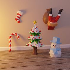 5 fresh DIY papercraft templates for 2019 holiday season! Print them, cut them, glue them and enjoy a different kind of decor! Christmas Paper Crafts, Paper Crafts Origami, Felt Crafts, Diy Paper, Christmas Crafts, Christmas Decorations, Christmas Ornaments, Matchbox Crafts, Theme Noel