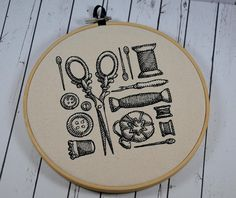 Sewing Room Wall Art Embroidered Hoop Art by TheCuriousNeedle