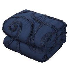 Shop Gracewood Hollow Maqqari Dark Blue 11-piece Bed in a Bag Comforter Set - On Sale - Overstock - 19972935 - Queen Navy Comforter, Full Size Comforter, Queen Comforter Sets, Queen Beds, Bedding Sets, Buy Pillows, Bed In A Bag, Cut Out Design, Comforters