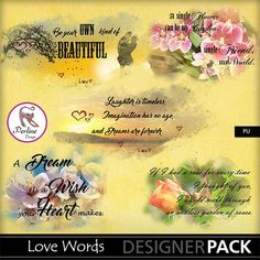 Pack of 5 Word-arts in English. Background paper is not included. The embellishments are png files, variable size (bigger than on the preview), 300 Dpi.
