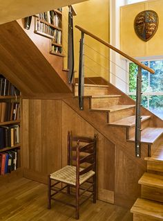 Split-Level Staircase Design See Mountain Laurel Handrails at http://awoodrailing.com