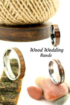 WOW! Finally some unique mens wedding bands! I love these rings that are made out of koa wood. My future husband would love a wood wedding band!
