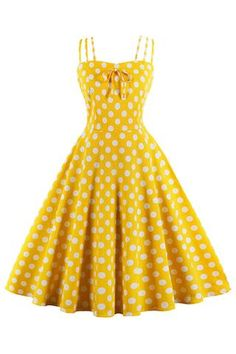 Shop a great selection of Sofkiny Women's Cami Strap Bright Yellow Polka Dots Tea Party Vintage Swing Dress. Find new offer and Similar products for Sofkiny Women's Cami Strap Bright Yellow Polka Dots Tea Party Vintage Swing Dress. Vestidos Pin Up, Vintage Outfits, Vintage Party Dresses, 1950s Outfits, 1940s Dresses, Dress Vintage, Vintage Costumes, Summer Swing Dresses, Summer Dresses For Women