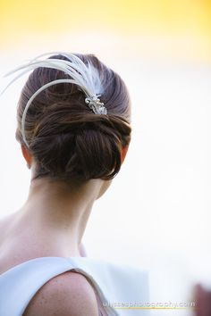 bridal updo with feather - West Point Wedding at Thayer Hotel - NY wedding photographers Ulysses Photography