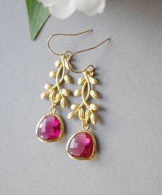 Hot Pink Earrings for Wedding Gold Framed Glass by SarahOfSweden