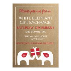 Rustic, Gift Exchange Holiday Party Invite. Click through to find matching games, favors, thank you cards, inserts, decor, and more. Or shop our 1000+ designs for all of life's journeys. Weddings, birthdays, new babies, anniversaries, and more. Only at Aesthetic Journeys