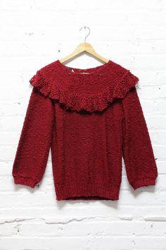 Burgundy Peasant Sweater M