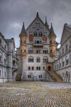 Neuschwanstein Castle above the village of Hohenschwangau in southwestern Bavaria, Germany.