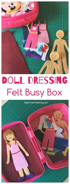 Doll Dressing Felt Busy Box kids would love! #feltdolls
