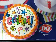 Celebrate! by Sara Beck  I am a DQ cake decorator in Sioux Falls, SD.  Decorations are my creations, so please leave description attached if you choose to share the pin!  Thanks!