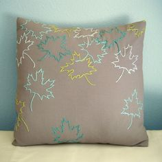 Fall Leaves Grey Pillow Cover. via Etsy. Cushion Embroidery, Hand Embroidery Patterns, Embroidery Stitches, Embroidery Designs, Grey Pillows, Grey Pillow Covers, Diy Broderie, Running Stitch, Sewing Pillows