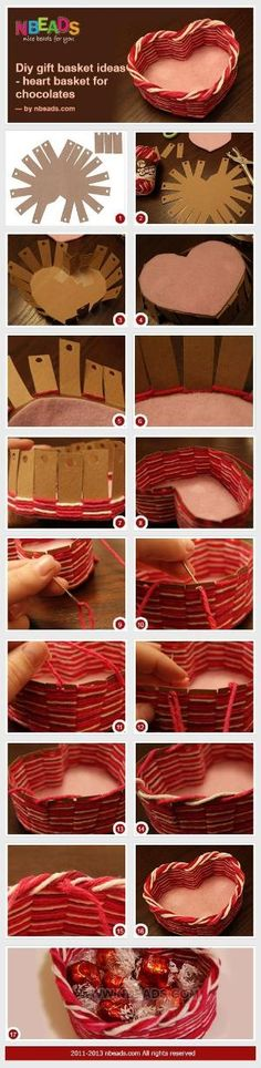 diy gift basket ideas - heart basket for chocolates by Divonsir Borges