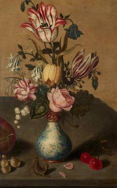 Attribué à Ambrosius BOSSCHAERT le jeune (1609 - 1645). Bouquet de fleurs Panneau de chêne, deux planches, fragment. Porte une signature en bas à droite.
