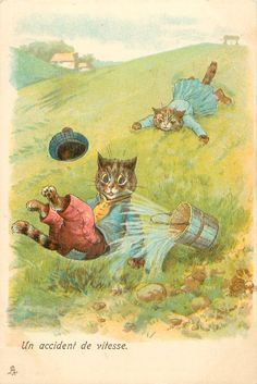 Un accident de vilesse (interpretation of Jack and Jill), United Kingdom, date unknown, by Louis Wain.