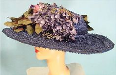 c. 1908 Edwardian GIGANTIC Blue Straw Summer Hat