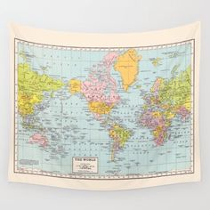 World map tapestry wall hanging vintage map blue and cream willow world map tapestry wall hanging vintage map pastel colors beautiful map travel gumiabroncs Choice Image