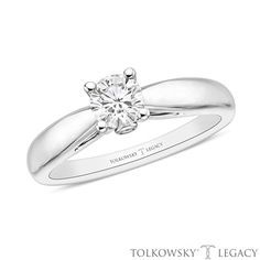 Tolkowsky®+Legacy+1/2+CT.+T.W.+Certified+Diamond+Solitaire+Engagement+Ring+in+14K+White+Gold+(I/SI2)