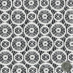 White Lace Fabric Medallion Pattern Lace Geometrical Circle Oval White Wedding Lace Bridal Lace Fabric by the Yard - 1 Yard Style 153   $8.90