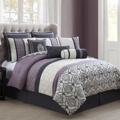 Craft your bedroom retreat with bedding & linens from zulily. Shop quilts, comforters & sheet sets in classic, vintage & modern styles. Luxury Comforter Sets, King Size Comforter Sets, King Size Comforters, Bedding Sets, Plum Comforter, Bedroom Comforters, Duvet, Bedroom Sets, Bedroom Decor