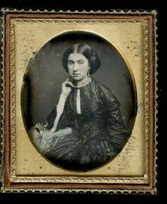 c1850 Daguerreotype Beautiful Young Woman Touching Cheek, Parisol at Side